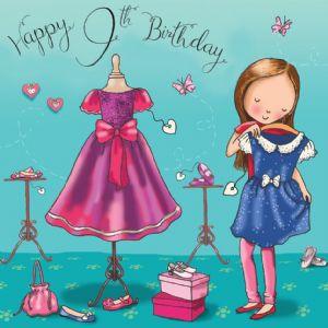 TW679 - Age 9 Birthday Card Girls